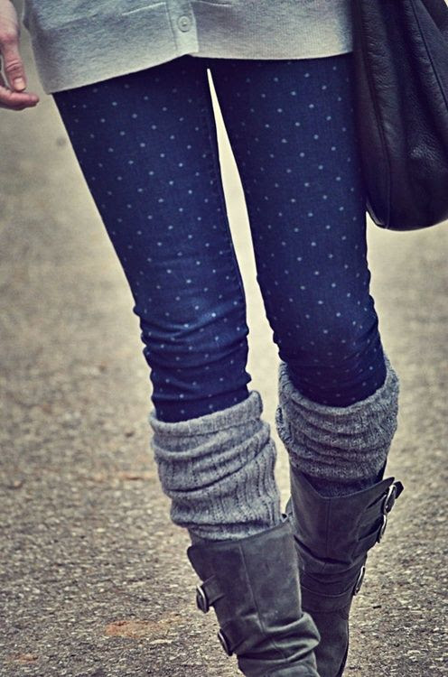 Polka dot jeans and boots