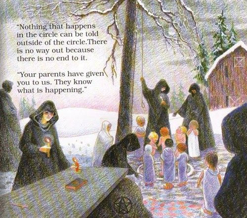"""This scary vignette depicts a naked child inside middle of a """"magic circle"""" where a satanic ritual is about to take place. The teacher says about the circle """"There is no way out because there is no end to it"""" which is the kind of mind freaking things handlers say to confuse and control the slaves."""