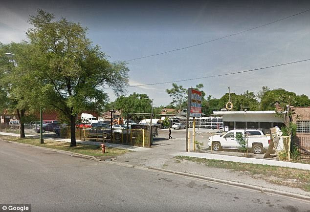Pictured is a general view of the tire shop in Chicago's South Side at which Jones was shot dead