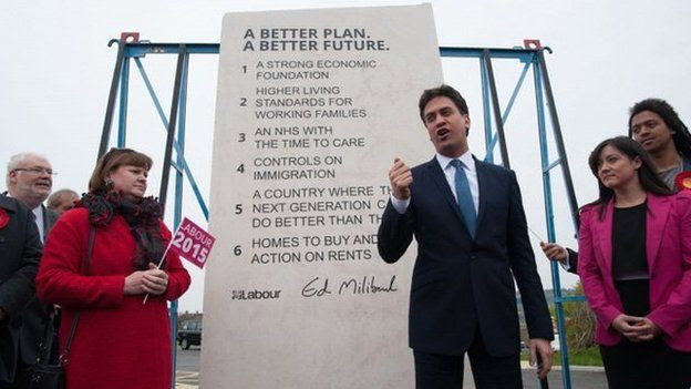 Ed Miliband with his stone plinth of Labour pledges