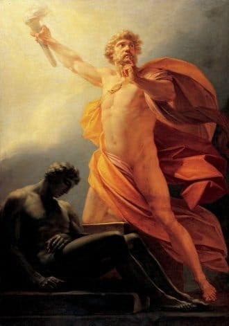 """""""Prometheus Trae fuego"""" por Heinrich Friedrich Füger."""