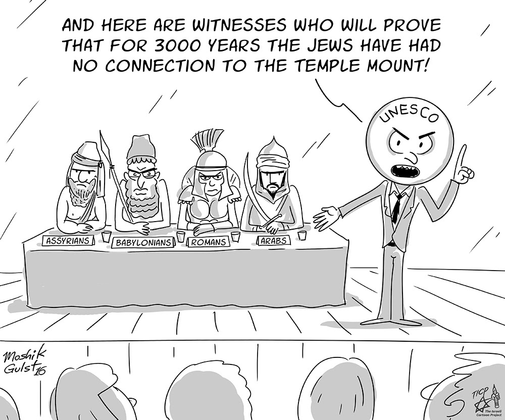 3000 years on no connection to the temple mount.. Cartoon by Moshik Gulst for TICP