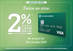 FNBO BucksBack Visa Card - 10% Cash Back On All Purchases - Credit