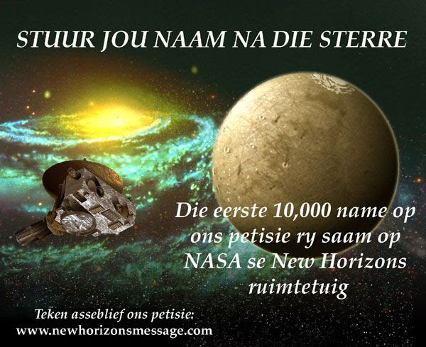 A New Horizons Message Initiative poster in Afrikaan.