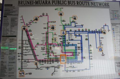 BSB (Bandar Seri Begawan) バスターミナルの路線図
