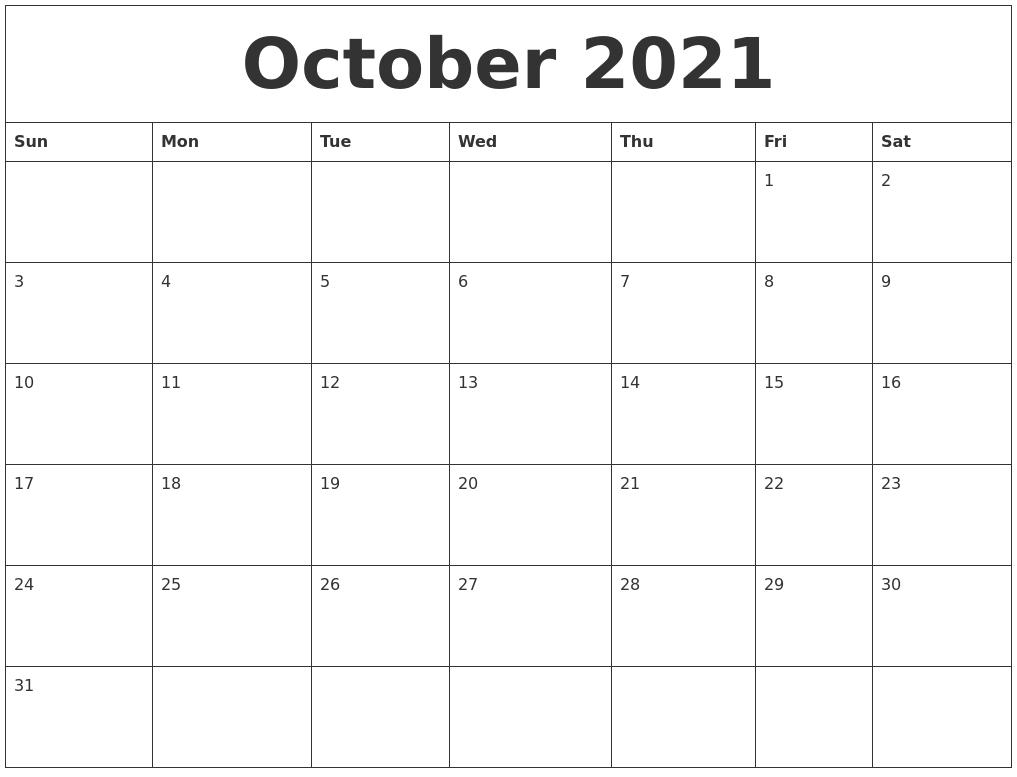 october 2021 free blank calendar template