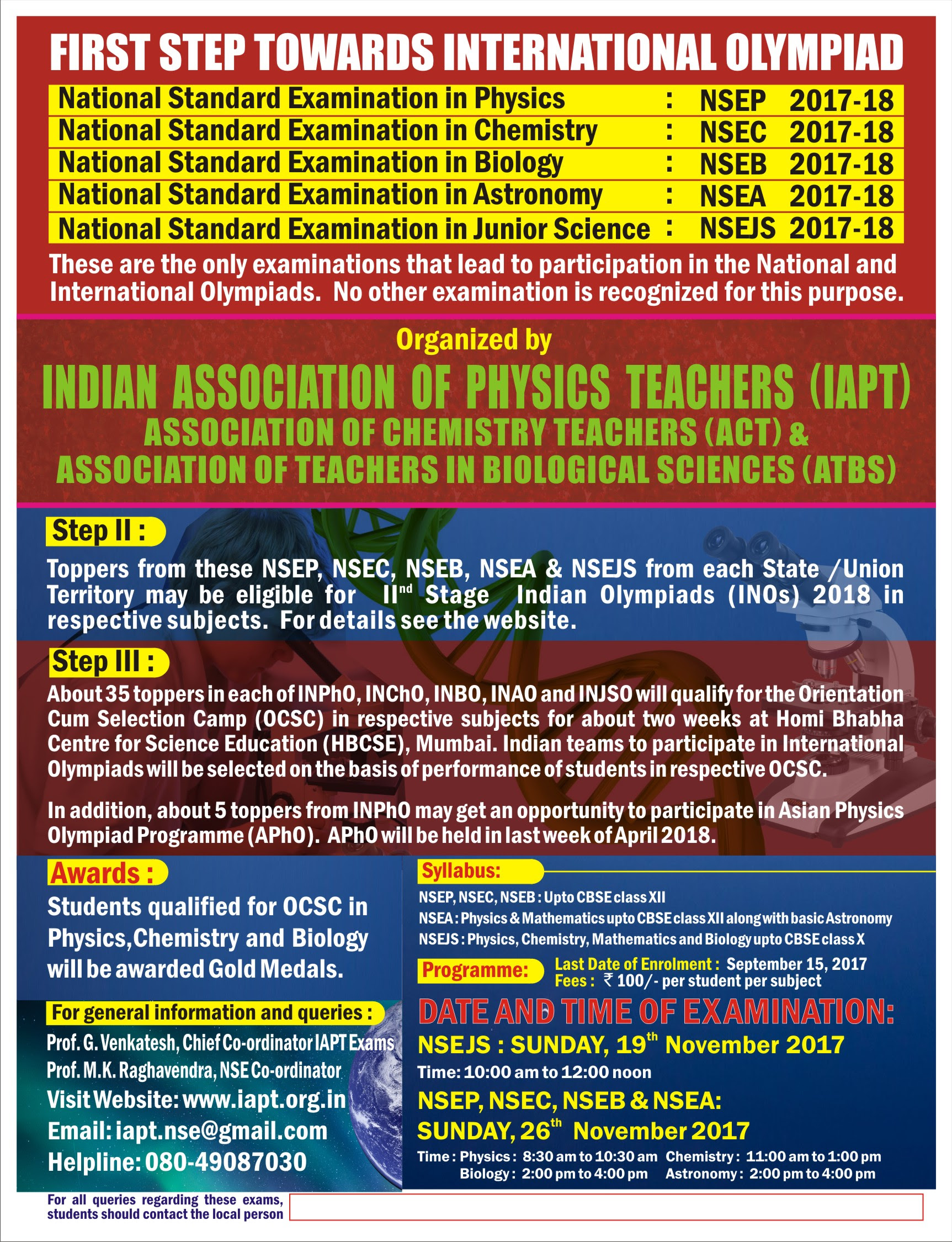 NATIONAL OLYMPIAD FOR STUDENTS
