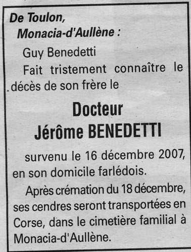 Décès Jérôme Benedetti