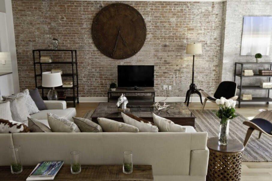 10 Brick Walls Living Room Interior Design Ideas ...