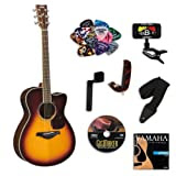 Yamaha FSX730SC Brown Sunburst Small Body Acoustic-Electric Guitar Bundle w/Legacy Accessory Kit