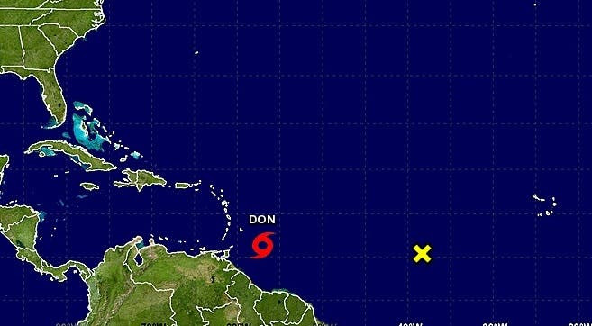 Trayectoria de Don. Foto: Centro Nacional de Huracanes.