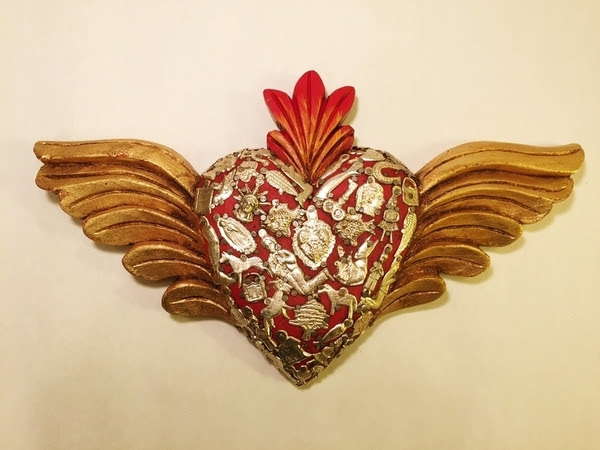 Sacred Heart With Wings And Milagros Red Milagro Woodcarvings