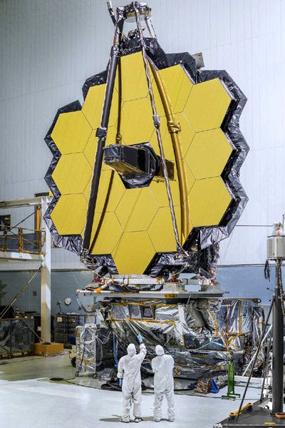 The primary mirror for the James Webb Space Telescope is displayed at NASA's Goddard Space Flight Center in Greenbelt, Maryland.