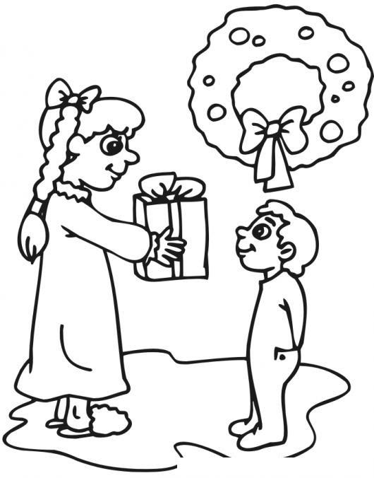 Hermanita Dadivosa Dibujo De Hermana Mayor Dando Un Regalo A Su
