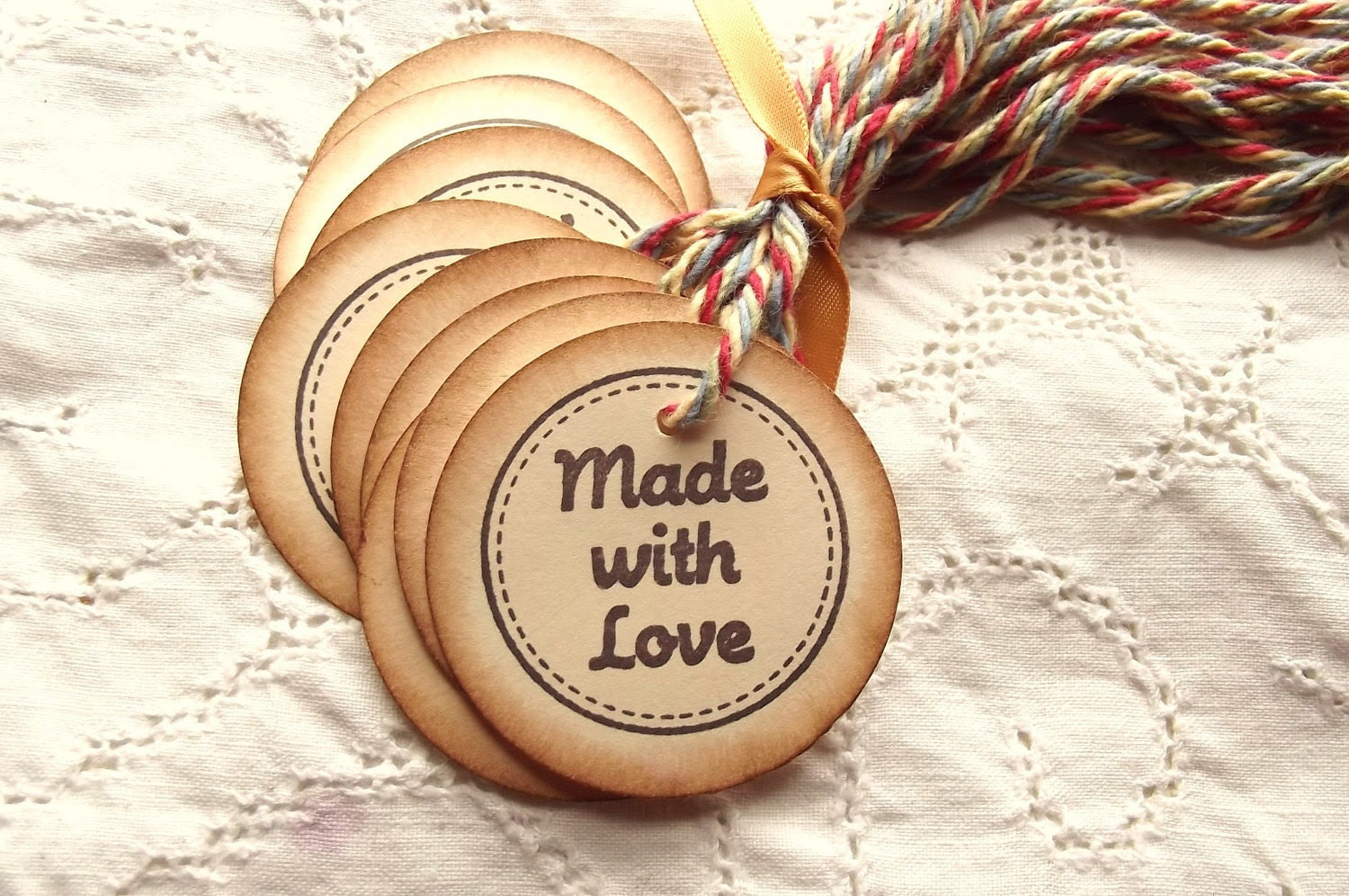 Made with Love Circle Hang Tags - Stitched Border, Colorful Cotton Twine, Brown, Vintage Feel 12