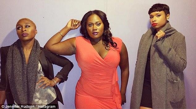 Drama: Jennifer showed off her most dramatic pose as she stood beside The Color Purple co-starsCynthia Erivo (L) and Danielle Brooks (center)