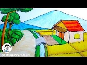 Gambar Pemandangan Gunung Dan Rumah Yang Mudah