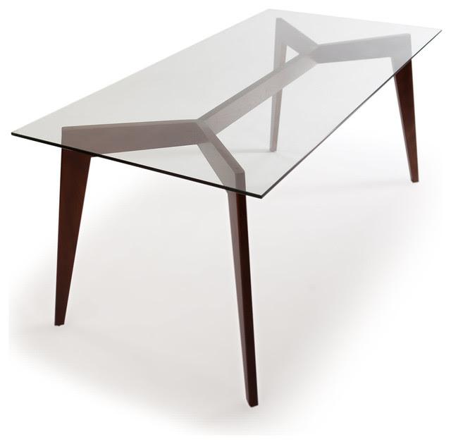 Kardiel Deco Blaze MidCentury Modern Dining Table, Walnut Legs\/Glass Top  Midcentury  Dining