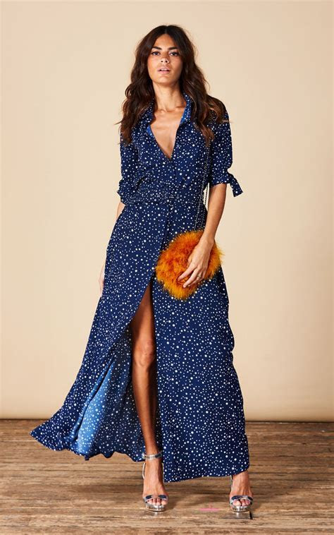 Dove Dress In Navy Star   SilkFred
