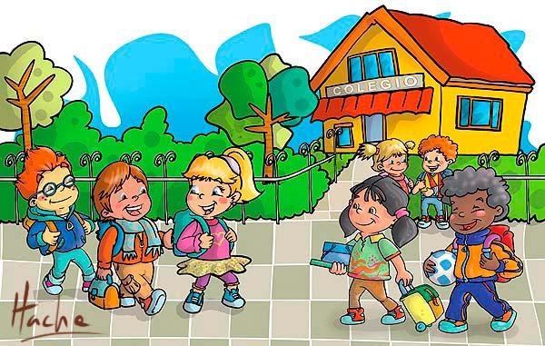 Ilustración Entrando al colegio por Hache Holguin