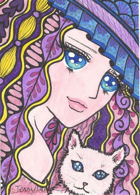 aceo original zentangle anime girl wearing hat  cat