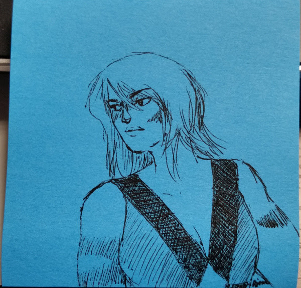 3x3″ post-it note doodle of Jasper, ink only. And I fail once again in drawing her right. Sorry about that.