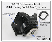 AS1017: 580EX Foot Asembly with Metal Locking Foot and Aux Sync Jack - Optional Rubber Weatherseal Shown Inset
