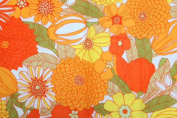 Vintage 70s yellow orange and green floral fabric