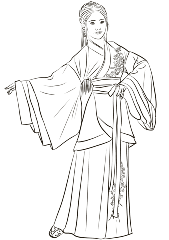 Download Chinese Woman in Traditional Costume Hanfu coloring page ...