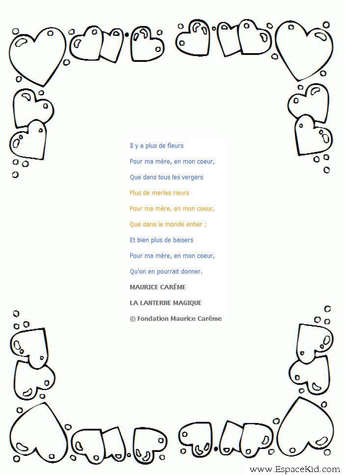 Coloriage Coloriage Poème Fête Des Mères Maurice Carême à Imprimer