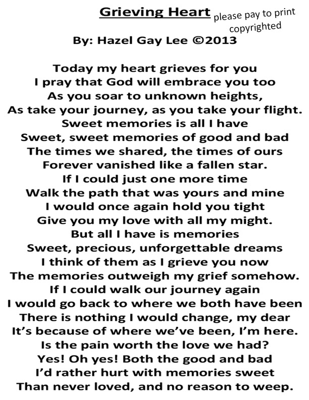 Hazelgaylee Grieving Heart Poem About Losing Someone You Love