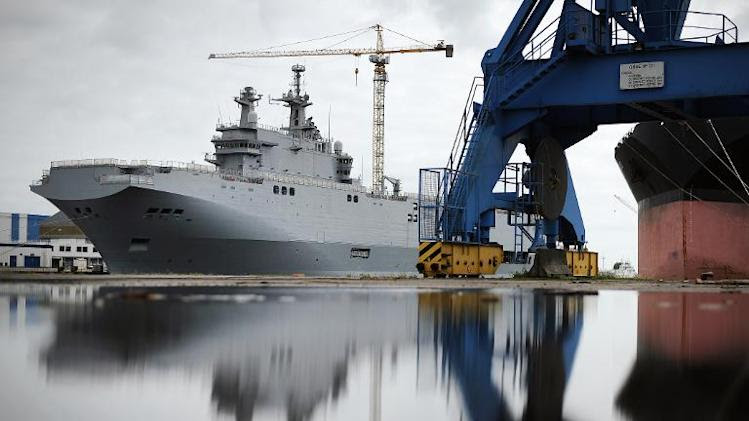 A photo taken on May 9, 2014 in Saint-Nazaire, western France, shows the Vladivostok warship, a Mistral class LHD amphibious vessel ordered by Russia to the STX France shipyard