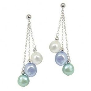 2014 Jewelry Trends: Blues. These gorgeous Honora earrings mix in the class of pearls with the hot color trend. | JR Dunn Jewelers |