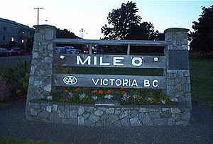 Mile zero of Trans-Canada highway, Victoria, BC.
