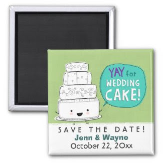 Wedding Cake Save the Date zazzle_magnet