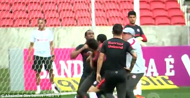 Anderson could be seen making a fist as team-mates tried to come between the players