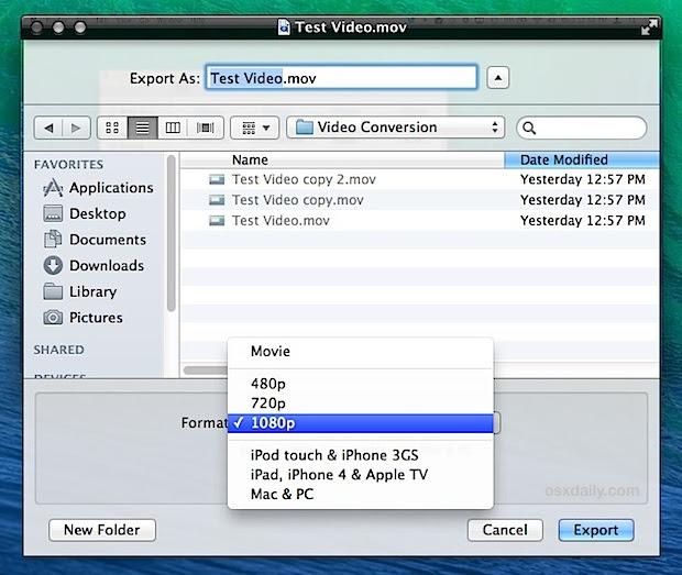 QuickTime video converter utilities built into Mac OS X
