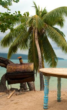 Rustic barbecue in the Caribbean.