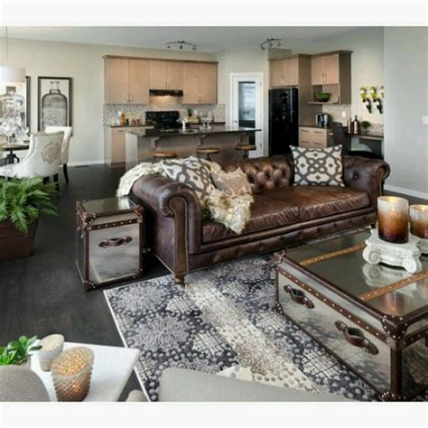 brown leather sofa  grey great room love