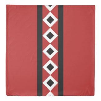 Reversible Red/Black/White Diamond Stripes Pattern Duvet Cover