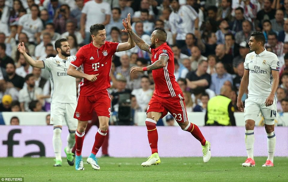 Still needing another goal on the night to progress the striker kept the celebrations minimal, high-fiving team-mate Vidal