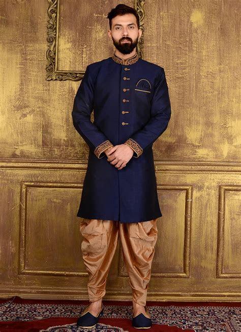 Buy Navy Blue Art Benarasi Silk Indowestern Sherwani