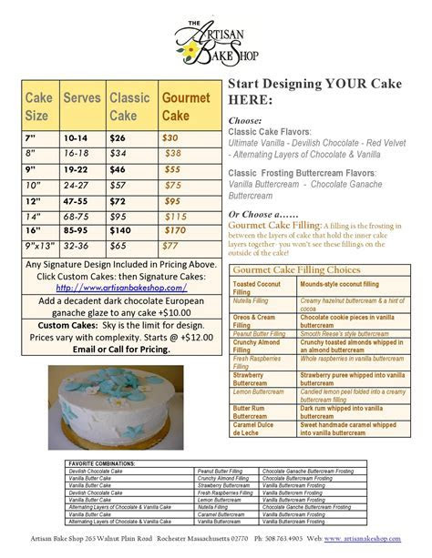 Artisan Bake Shop: 2011 Cake, Cupcake, Vintage Cake Pricing
