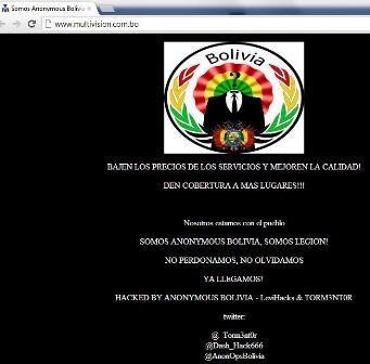 """Anonymous Bolivia """"hackeo"""" página web de Multivisión"""