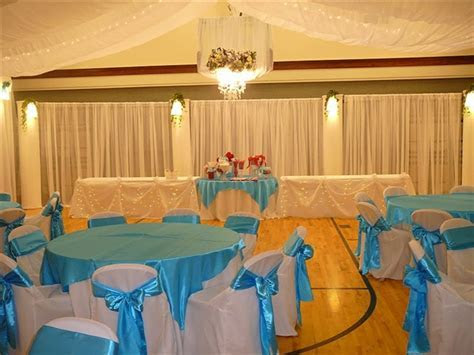Decorating a gym for a wedding reception   Church Wedding