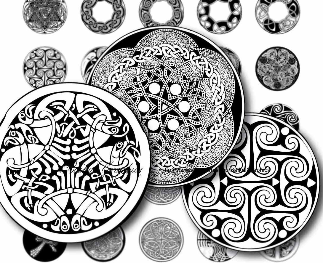 Celtic patterns Black and white Circles Digital Collage Sheet 1x1 inch. Printable round images for pendants cabochon button 057 - BaikalGraphics