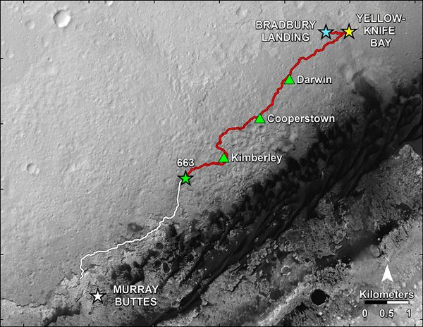 Curiosity's completed route (marked in red) at Gale Crater on Mars...as of June 24, 2014.