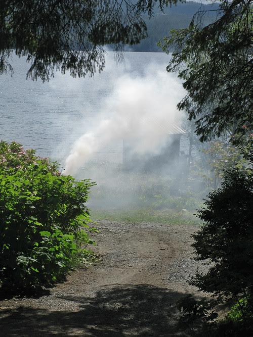 smoke and trees, Kasaan, Alaska