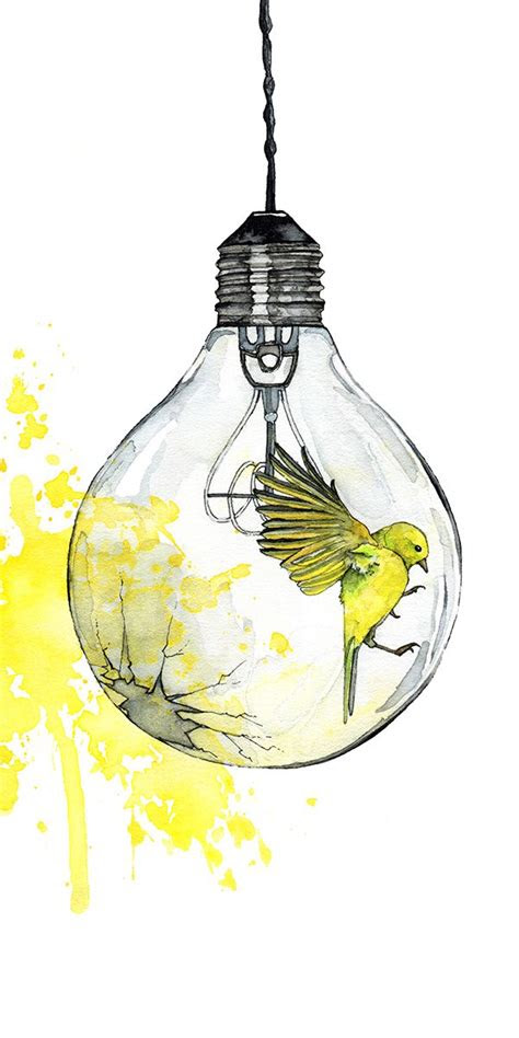 watercolor painting light bulb painting watercolor print