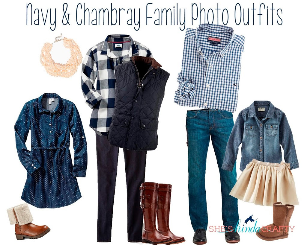 navy and chambray family photo outfits  shes kinda crafty